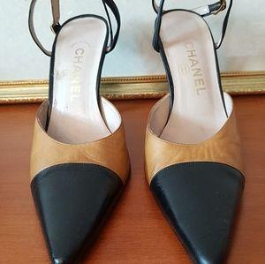 Chanel Two Tone Heels Beige/black Size 38